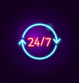 24 7 neon sign vector image