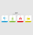 4 day filled icons set isolated on infographic vector image vector image