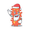 bacteroides santa cartoon character with cute ok vector image vector image