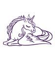 beautiful unicorn in sleep magic fantasy h vector image vector image