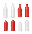 blank plastic red white tomato ketchup bottles set vector image vector image