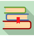 book stack icon flat style vector image
