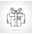 Box with ribbon bow black flat line icon vector image