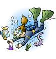 cartoon a diver looking at colorful fish vector image vector image