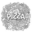 cartoon cute doodles pizza word vector image vector image