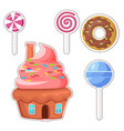 cartoon sweets stickers or icons set vector image