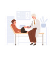child patient visiting doctor in hospital vector image