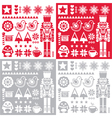 Christmas pattern with nutcracker - set of four de vector image vector image
