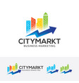 city marketing logo design vector image vector image