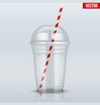 clear plastic cup with sphere dome cap and tube vector image