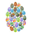 colorful easter eggs group background vector image vector image