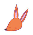 cute and little fox head character vector image vector image