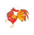 cute kind rooster symbol of the new year rooster vector image vector image