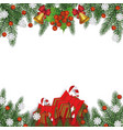 festive christmas frame with pine tree branches vector image vector image