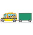 Frame design with kids on bus vector image