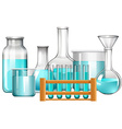 Glass beakers and test tubes with blue liquid vector image vector image