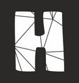 h white alphabet letter isolated on black vector image