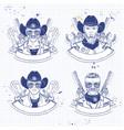 hand drawn sketch cowboy set vector image vector image