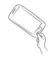 hand holding mobile phone with thumb and pointing vector image vector image