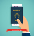 Hand holding passport with tickets Passport icon vector image