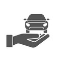 hands with car icon car insurance concept vector image vector image