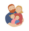 happy family father mother son and daughter hug vector image