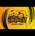 happy halloween poster with creepy pumpkin vector image