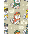 husky puppies in colorful raincoats endless vector image vector image