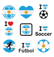 I love Argentine football soccer icons set vector image
