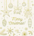 line art festive christmas greeting card outline vector image