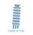 line art leaning tower of pisa italy european vector image