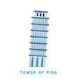 line art leaning tower pisa italy european vector image