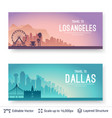los angeles and dallas famous city scapes vector image vector image