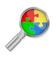 Magnifier with puzzle circle vector image vector image