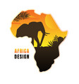 map africa with black silhouette elephant at vector image