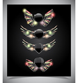 Metal Shield emblem with glass wings vector image vector image