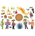 mexican food culture and travel symbol set vector image vector image