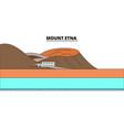 mount etna line travel landmark skyline vector image vector image