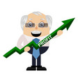 old man with arrow sign on white background vector image vector image