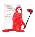 ornamental Christmas monkey with selfie vector image vector image