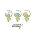 renewable energy set earth in bulb concept vector image vector image