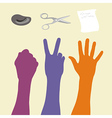 Rock paper scissors hand sign vector image vector image