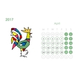 Rooster calendar 2017 for your design April month vector image vector image