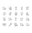 set dentistry line icons toothpaste implant vector image