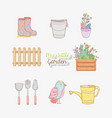 set ganden utensils with bird and flowers plants vector image