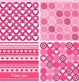 Set of four pink Valentines Day backgrounds vector image vector image