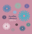 set of silhouettes snowflakes vector image