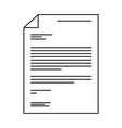 sheet document icon in black contour vector image vector image
