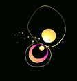 shiny golden fluid ink shapes on black abstraction vector image