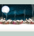 snow village and moon-001 vector image vector image
